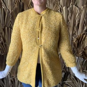 Vintage 60s Yellow Knit Coat Rhinestone Buttons